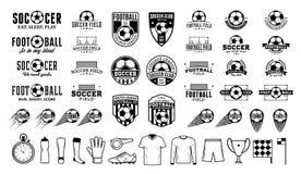 套传染媒介橄榄球足球俱乐部商标和象 皇族释放例证