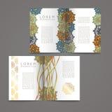 套传染媒介设计模板 与花卉圈子装饰品的名片 免版税库存图片