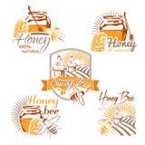套传染媒介上色了蜂蜜标签、商标、徽章和设计ele 免版税库存图片