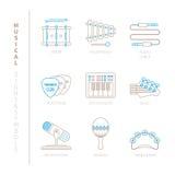 套传染媒介乐器象和概念在单音稀薄的线型 免版税库存照片