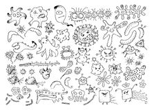 套传染媒介乱画细菌毒菌或动画片妖怪 被隔绝的手拉的病毒收藏 免版税图库摄影