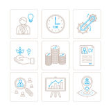 套传染媒介事务或财务象和概念在单音稀薄的线型 库存图片