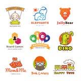 套传染媒介儿童物品商标 免版税库存图片