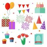 套传染媒介元素,生日,平的设计 免版税库存照片