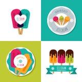 套传染媒介冰淇凌商标、标签、徽章或者象征 现代平的冰淇凌象 库存照片