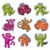 套传染媒介凉快的动画片妖怪,五颜六色的奇怪的生物 C 免版税库存图片