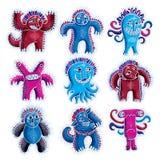 套传染媒介凉快的动画片妖怪,五颜六色的奇怪的生物 C 库存照片