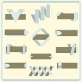 套传染媒介减速火箭的丝带、横幅和标签 免版税库存图片