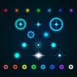套传染媒介发光的光线影响星破裂与闪闪发光 图库摄影