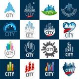 套传染媒介商标城市 免版税库存图片