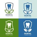 套传染媒介商标象设计 牙、盾和绿色叶子 免版税库存图片