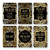 套传染媒介在艺术装饰样式的卡片模板 免版税库存图片