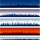 套传染媒介城市剪影 库存照片
