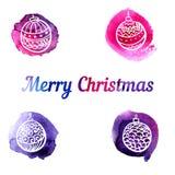 套传染媒介水彩飞溅与手拉的圣诞节装饰 图库摄影