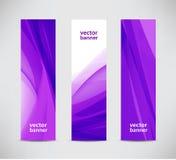 套传染媒介摘要波浪紫色横幅,垂直 库存照片
