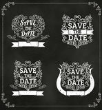 套传染媒介救球日期,婚姻的邀请葡萄酒Typograp 免版税库存照片