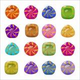 套传染媒介明亮的五颜六色的光滑的糖果 免版税库存图片
