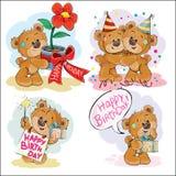 套传染媒介棕色玩具熊的剪贴美术例证祝愿您一生日快乐 图库摄影