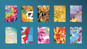 套传染媒介海报模板小册子设计技术, App 免版税库存图片