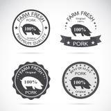 套传染媒介猪标签 免版税库存图片