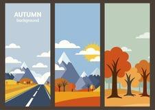 套传染媒介秋天与地方的风景横幅文本的 平面 库存图片