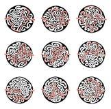 套传染媒介迷宫,圆的迷宫例证用解答 库存照片