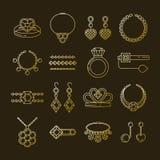 套传染媒介首饰线象 在黑暗隔绝的金刚石豪华收藏 圆环项链耳环链王冠 图库摄影