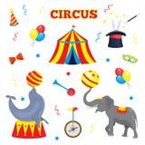套传染媒介马戏元素 马戏场帐篷,气球,垫铁,帽子,不可思议的棍子,蝶形领结, monocycle的一汇集 库存照片