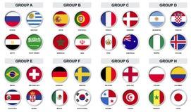 套体育与国家旗子的比赛徽章 免版税库存图片