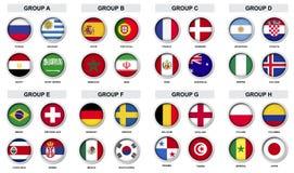 套体育与国家旗子的比赛徽章 免版税库存照片