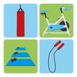 套体育和健身房元素 库存照片