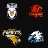 套体育队的现代专业商标 老鹰乐队, firebirds,模仿吉祥人在黑暗的背景的传染媒介标志 免版税图库摄影