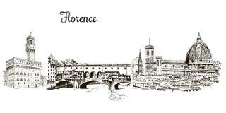 套佛罗伦萨标志silhuettes Cityline 中央寺院圣塔玛丽亚del fiore, Palazzo Vecchio, Ponte Vecchio桥梁 库存照片