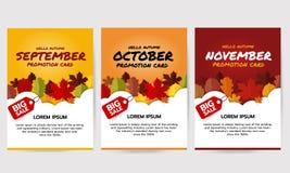 套你好与叶子的秋天横幅,卡片9月, 10月, 11月促进 大销售横幅模板 平的传染媒介illustr 库存照片