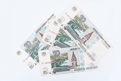 套俄罗斯卢布金钱的比尔10,大约1997年 图库摄影