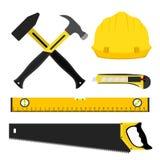 套修理建筑工具 在平的样式的工作者成套工具 免版税图库摄影