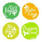 套健康和有机食品标签 与刷子的字体 食物Int 皇族释放例证