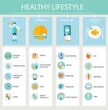 套健康生活方式的平的设计象 皇族释放例证