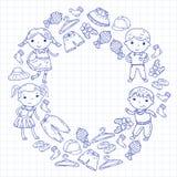 套儿童衣物 背景容易的图标替换影子透明向量 幼稚园 苗圃 不对称的 学校衣物 夏天衣物 孩子商店 皇族释放例证