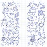 套儿童衣物 背景容易的图标替换影子透明向量 幼稚园 苗圃 不对称的 学校衣物 夏天衣物 孩子商店 向量例证