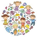 套儿童衣物 背景容易的图标替换影子透明向量 幼稚园 苗圃 不对称的 学校衣物 夏天衣物 孩子商店 库存例证