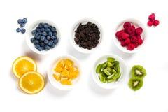 套充分白色碗作为五个奥林匹克圆环被安排的干和新鲜水果 免版税库存图片
