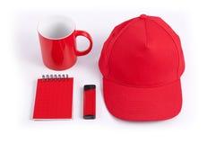 套公司本体设计的红色元素在白色backg 免版税库存照片