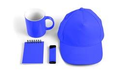 套公司本体设计的蓝色元素在白色后面 库存图片