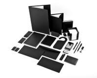 套公司本体设计的黑元素在白色b 免版税库存照片