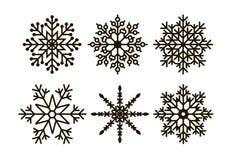 套六个几何圣诞节雪花和星 库存图片