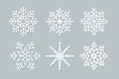 套六个几何圣诞节雪花和星 免版税库存照片