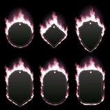 套六个框架围拢与桃红色火焰 免版税图库摄影