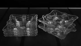 套六个深玻璃器皿 免版税图库摄影