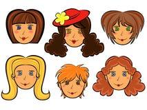 套六张动画片妇女面孔 免版税库存图片